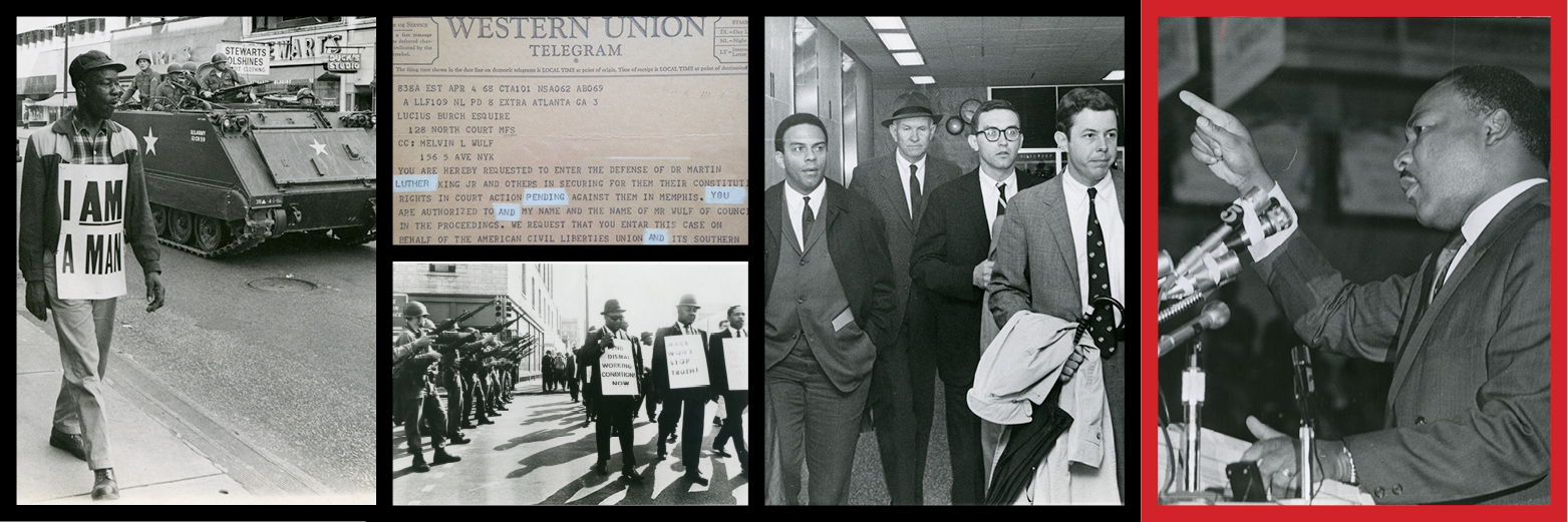 Memphis sanitation workers strike, Dr. Martin Luther King Jr., Dr. King's attorneys, ACLU postcard