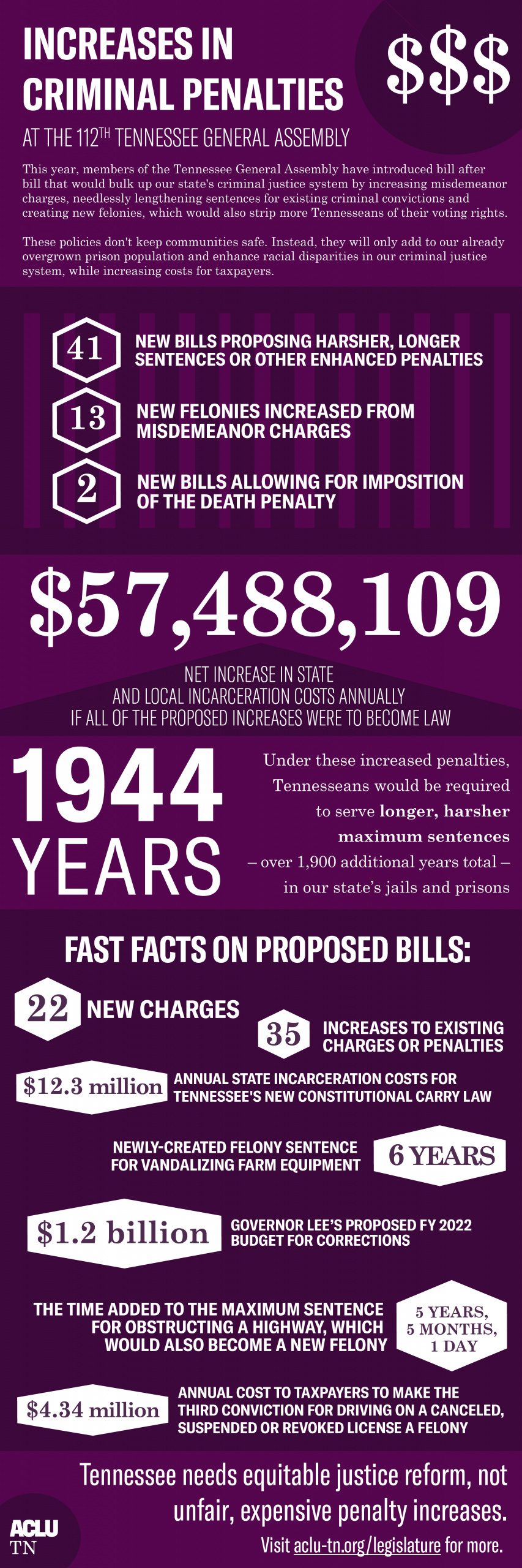 Increases in Criminal Penalties at the 112th TGA Infographic
