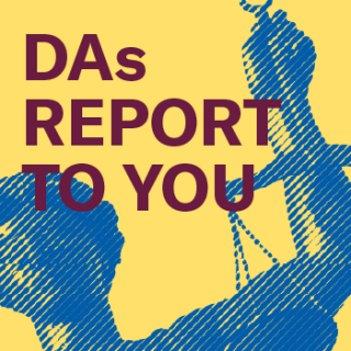 """""""DAs Report to You,"""" image of the scales of justice"""